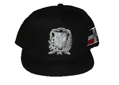 fc48952a544a0 Dominican Republic Snap Back Caps 3-D Embroidery Shield On Front Metal  Silver