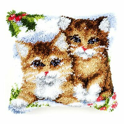 Vervaco Snow Cats Latch Hook Cushion, Multi-Colour