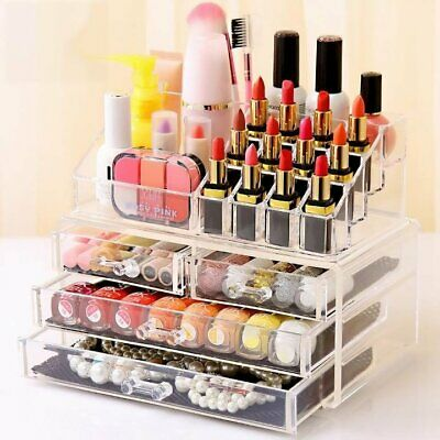 Clear Acrylic Makeup Holder Cosmetic Organizer 4 Drawer Storage Jewellery Box AG