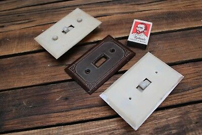 Vintage Bakelite Power Point Covers Switch Art Deco White Brown Light Lamp