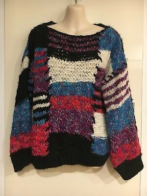 Vintage Retro Handmade 80's 1980's Ugly Patch Knitted Jumper Size Approx Large