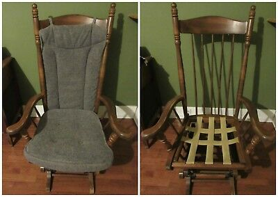 Vintage Rocking Chair Glider High Back Spindle Gliding Grandma Senior Rocker