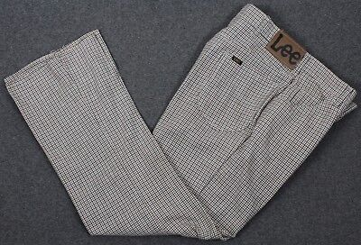 Vintage LEE Riders USA Poly/Cotton Houndstooth Flat Front Pants Mens 36x30