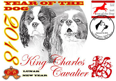 King Chares Cavalier 2018 Year Of The Dog Stamp Souvenir Cover #2