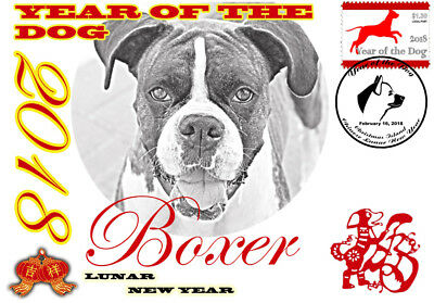 Boxer 2018 Year Of The Dog Stamp Souvenir Cover