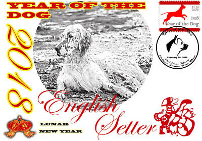English Setter 2018 Year Of The Dog Stamp Souvenir Cover #2