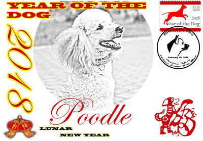 Poodle 2018 Year Of The Dog Stamp Souvenir Cover