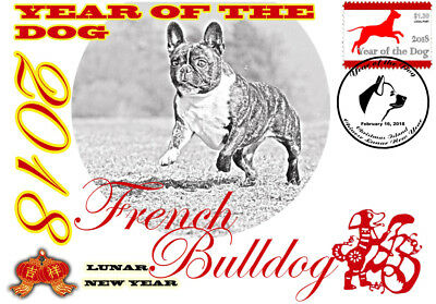 French Bulldog 2018 Year Of The Dog Stamp Souvenir Cover #2