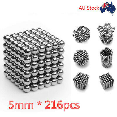 216pcs*5mm Magic Magnetic DIY Balls 3D Magnet Sphere Neodymium Beads Cube Silver