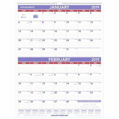 "AT-A-GLANCE® 2-Month Wall Calendar, 29"" x 22"", White, January to December 2019"