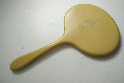 Vintage yellow plastic oval shape hand mirror bevelled edge mirror