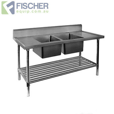 BRAND NEW Stainless Steel Center Double Sink Bench 1700mm - Pipe Undershelf