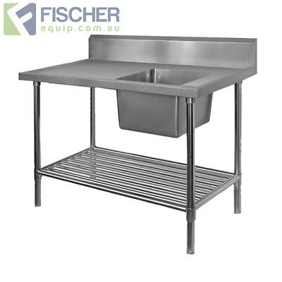 BRAND NEW Stainless Steel Right Single Sink Bench 1000mm - Pipe Undershelf