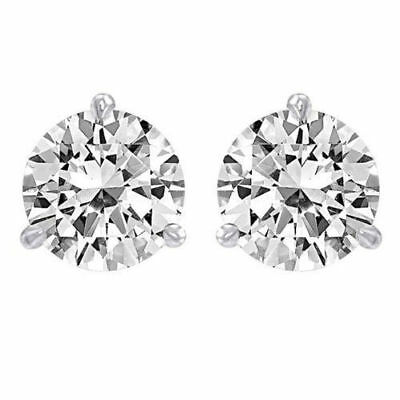 1.00 Ct Round Solitaire Stud Earrings Martini Screw Style Solid 14k White Gold