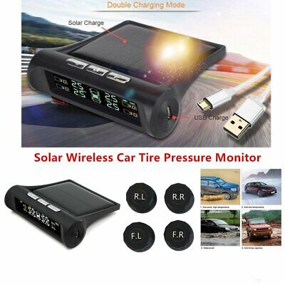 Solar Wireless Car Tire Pressure Monitor LCD Screen TPMS With 4 External Sensors