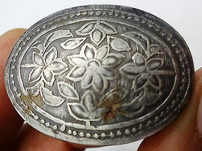 Antique Silver Vintage Trinket Box Handcrafted Engraving Work Old Indian Silver