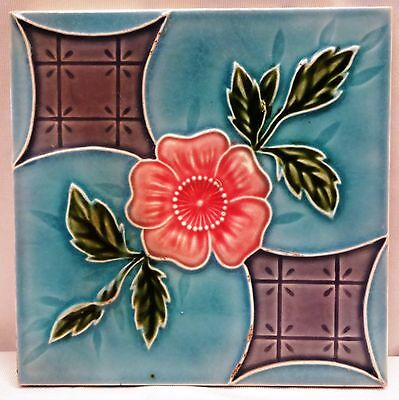Vintage Tile Ceramic Porcelain Art Nouveau Design Dk Japan Architectural Antique
