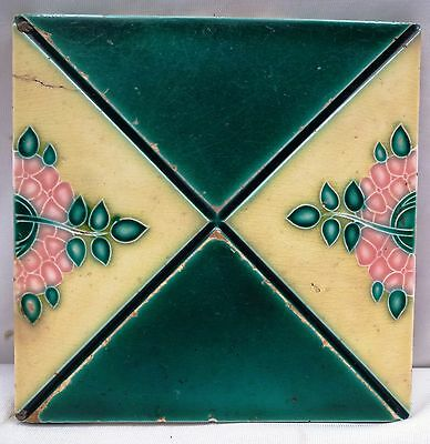 Vintage Tile Ceramic And Porcelain Flower Design Art Nouveau Architectural Rare