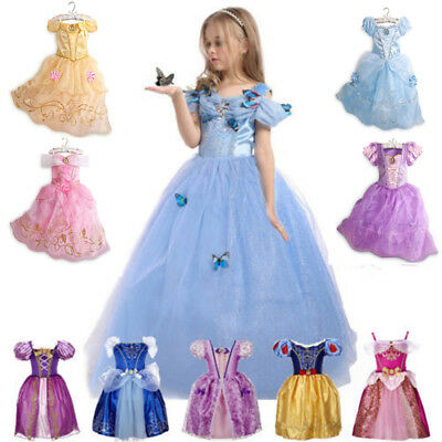 Princess Elsa Dress Fancy Costume Anna Girls Party Kids Cosplay Frozen Christ zu