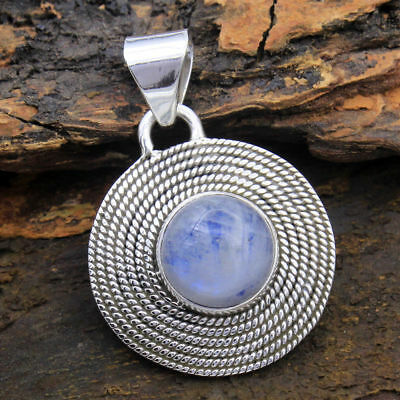 925 Silver Natural Rainbow Antique Moonstone Pendant Necklace Jewelry Wholesale