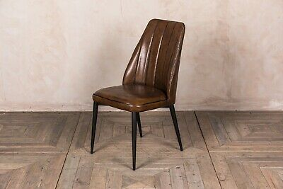 Brown Faux Leather Upholstered Dining Chair Rib Stitched Modern Vintage Style