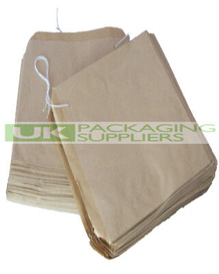 "100 SMALL SIZE 7 x 7"" BROWN KRAFT PAPER STRUNG BAGS FOOD FRUIT VEG - NEW"