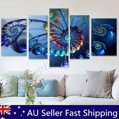5Pcs Modern Abstract Peacock Painting Print Canvas Picture Home Room Decor Frame