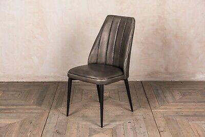 Grey Faux Leather Upholstered Dining Chair Rib Stitched Modern Vintage Style