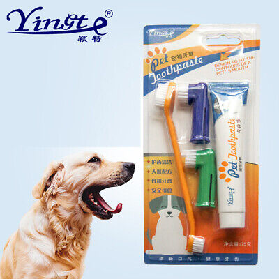 UK Pet Dog Cat Toothbrush and Toothpaste Teeth Cleaning Set 4Pc Teeth Oral Care