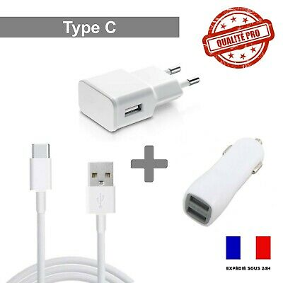 Câble USB TYPE C - Samsung Huawei Sony.. Chargeur Secteur 2A // Prise Voiture 2A