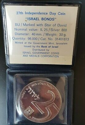 1975 Israel Silver 25 Lirot  Bond Program Coin BU Prooflike In Official Wallet .