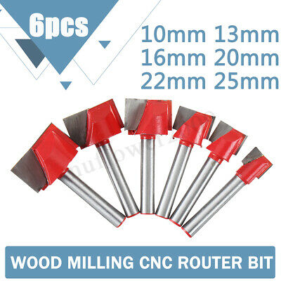 6Pcs 10-25mm Surface Planing Bottom Cleaning Flat End Milling Router Bit Cutter