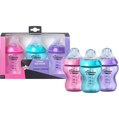 Tommee Tippee Closer To Nature Feeding Bottles 260mL 3 Pack - Multi