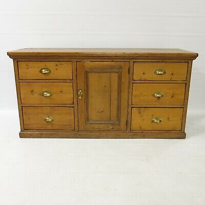 Victorian pine sideboard - tv cabinet with 6 drawers and cupboard #2256L