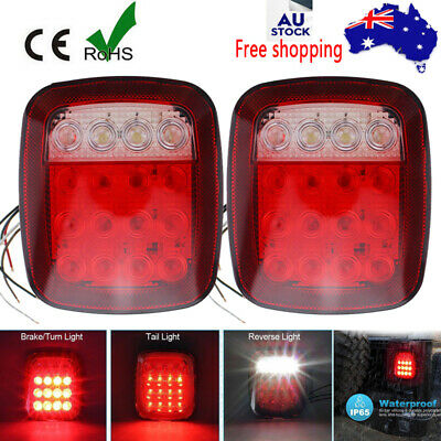 Rectangle 16 Led Boat Marine Trailer Tail Light Lamps + Number Plate Lights Au