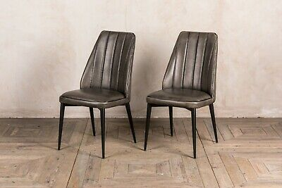 Pair Of Grey Faux Leather Upholstered Dining Chair Rib Stitched Modern Style