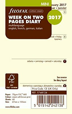 Filofax 000017-68124Mini One Week on Two Pages Cotton Cream Multilingual 2017,