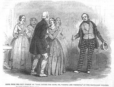 Scene from Look Before you Leap at the Haymarket Theatre - Antique Print 1846