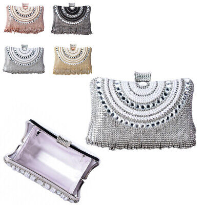 Ladies Pearl Gem Box Clutch Bag Girls Prom Party Fringe Wedding Handbag MMX81