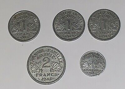5 Vichy France Coins - 50 Centimes (1943), 3 1 Franc (1942-4) And 2 Franc (1943)