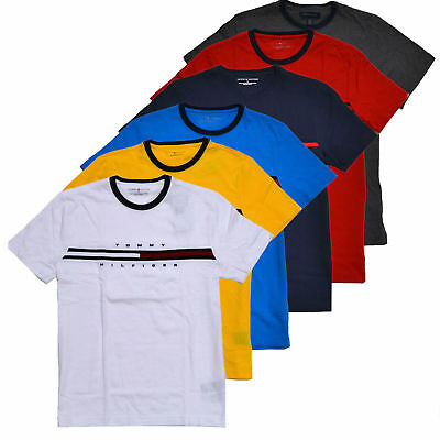 Tommy Hilfiger Mens Crew Neck T-Shirt Short Sleeve Graphic  Flag Logo