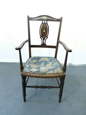 Antique elbow - arm chair with inlaid green man decoration #2308L