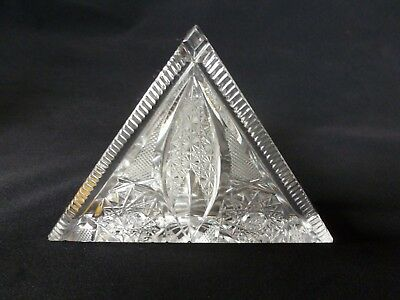 VINTAGE 24% Pbo Lead Crystal BOHEMIA Hand Cut NAPKIN HOLDER - Made in Czech