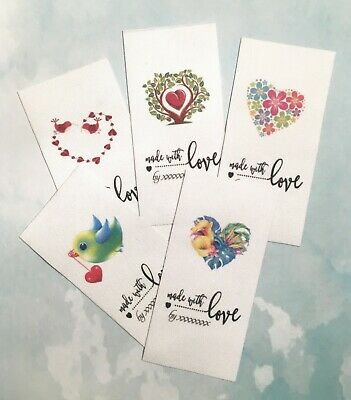 20 x Heart Fabric Sewin Labels Premade Logo - Various Designs