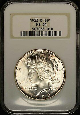 1923-D Silver Peace Dollar - NGC MS64 - Free Shipping USA