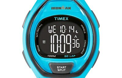 PRE-OWNED Timex Unisex Ironman Sleek 50 Neon Blue Resin Strap Watch TW5M01900