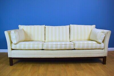 Mid Century Modern Danish 3 Seater Sofa Settee upholstered in Heavy Cotton