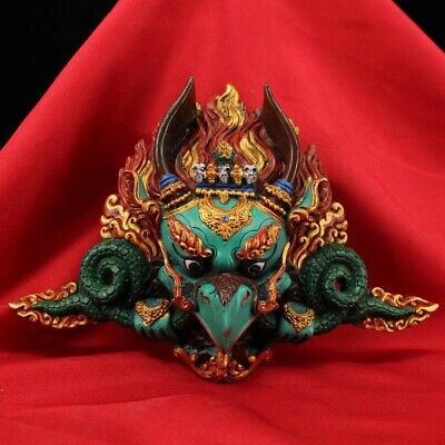 Chinese Tibetan temple collection hand painted Eagle buddha mask Home decoration