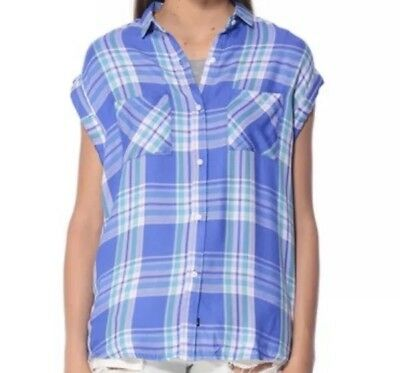 4fa61613c545 RAILS SZ XS Britt Plaid Short Sleeve Button Down Shirt Women's ...