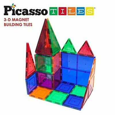 PicassoTiles 100 Piece Set 100pcs Magnet Building Tiles Clear Magnetic 3D. TOYS